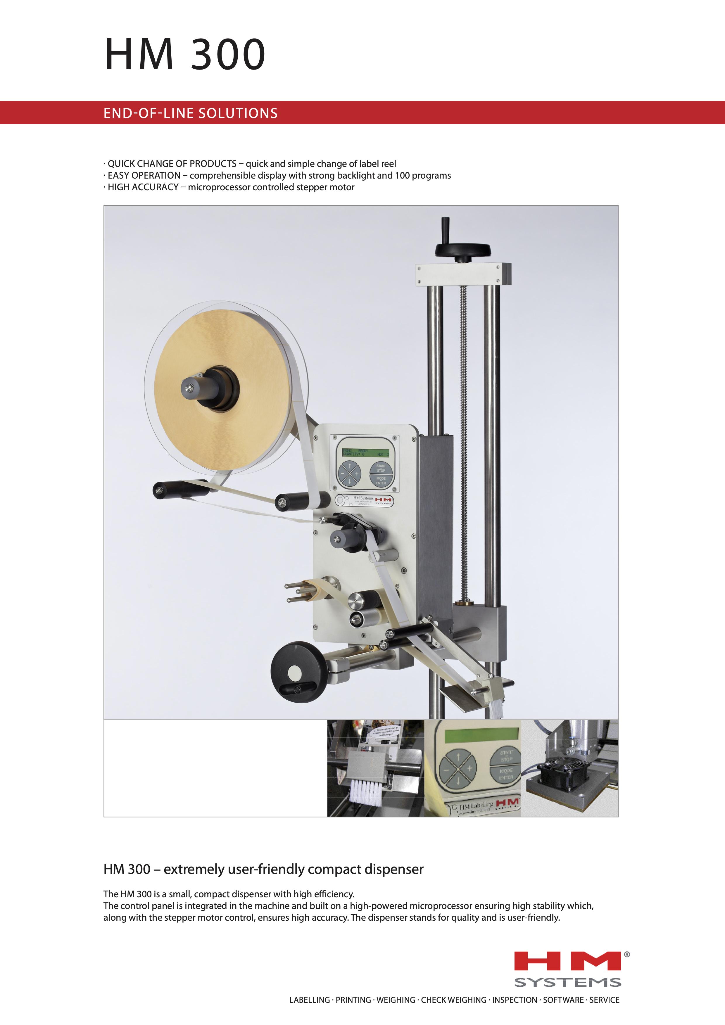 Documentation sur l'étiqueteuse industrielle HM 300