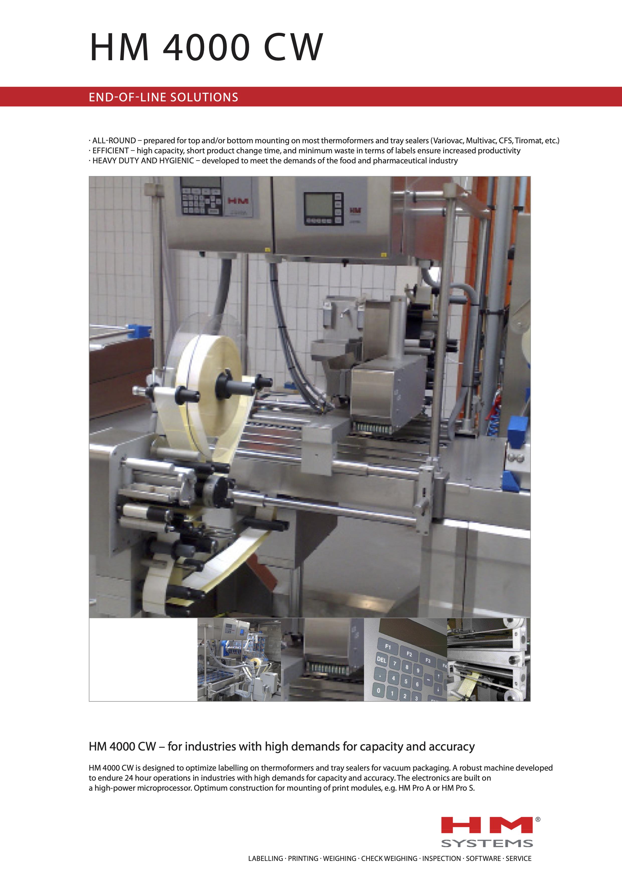 Documentation sur l'étiqueteuse industrielle HM 4000