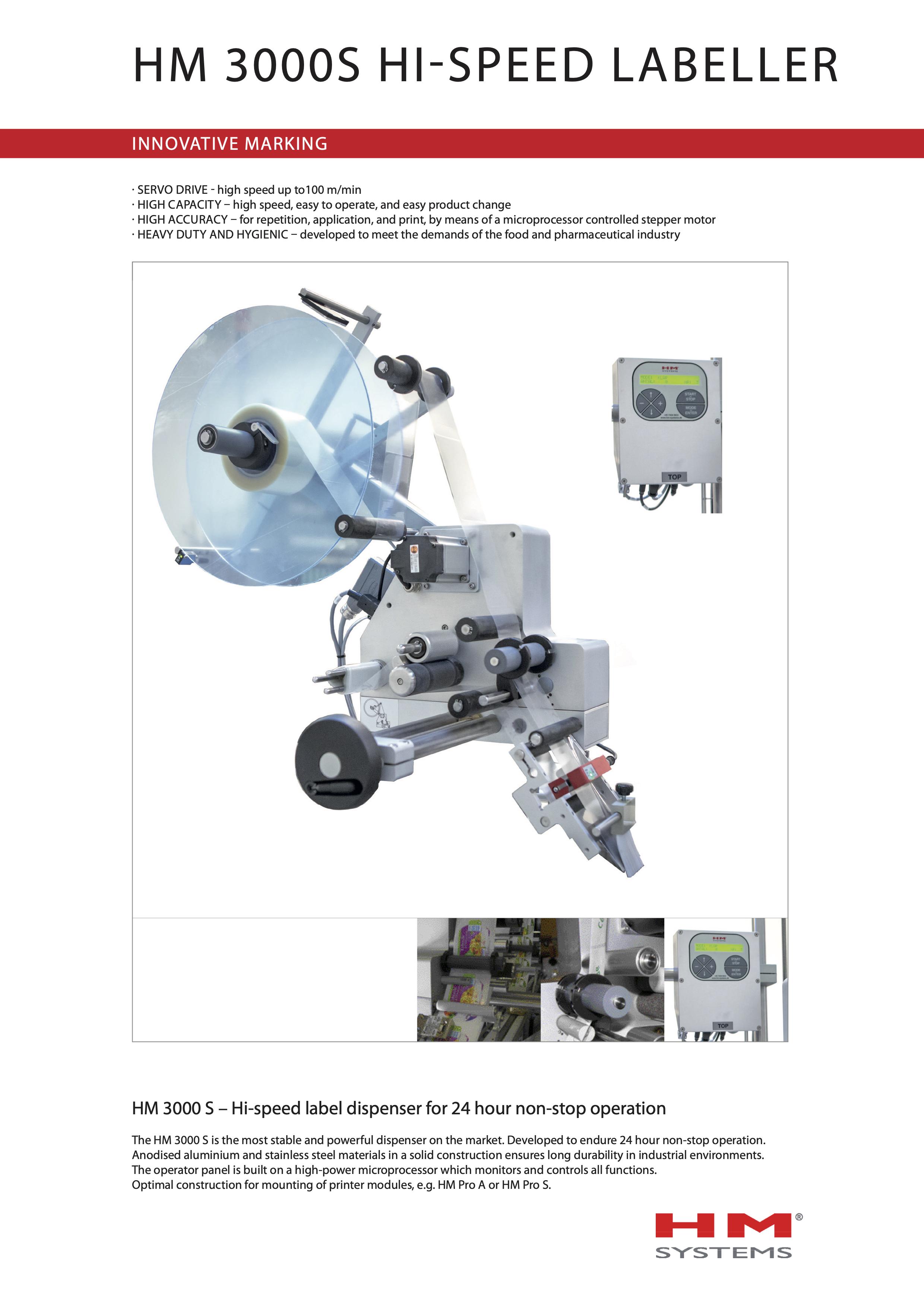Documentation sur l'étiqueteuse industrielle HM 3000