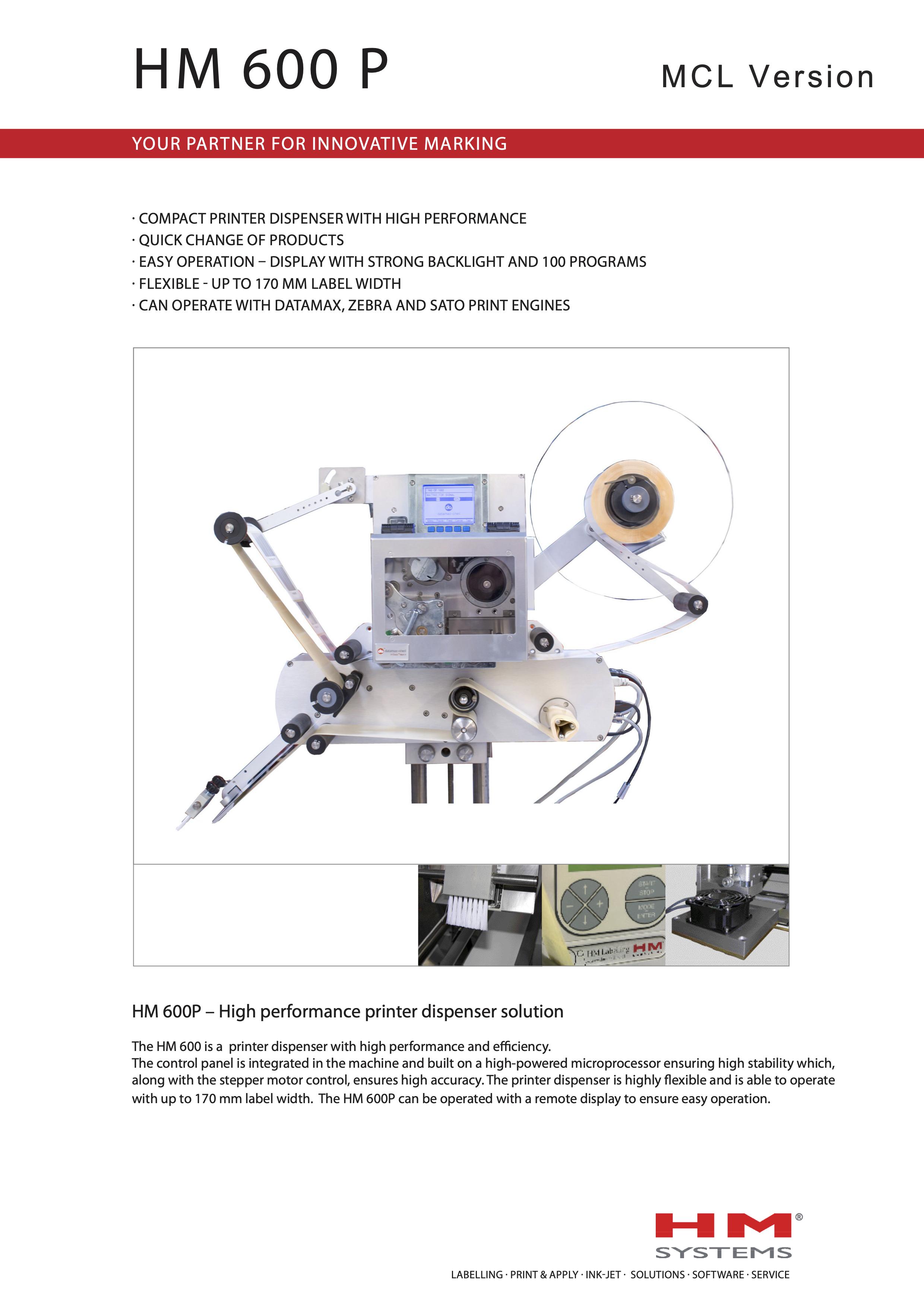 Documentation sur l'étiqueteuse industrielle HM 600P
