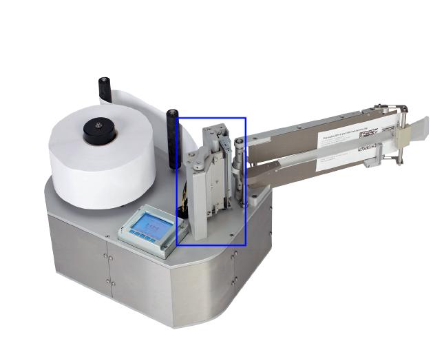 Tête d'impression sur l'étiqueteuse industrielle HM Linerfree HM Systems